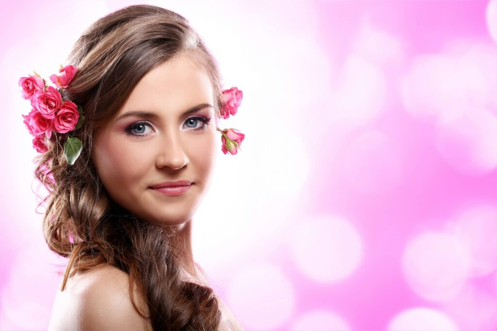Beautiful wedding makeup with allover pink look