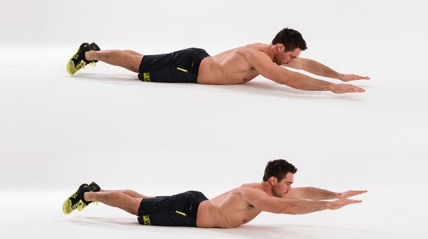 Superman the back exercises without weights