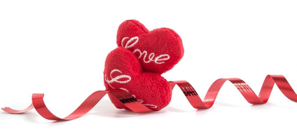 Hearts shape cushion and pillows