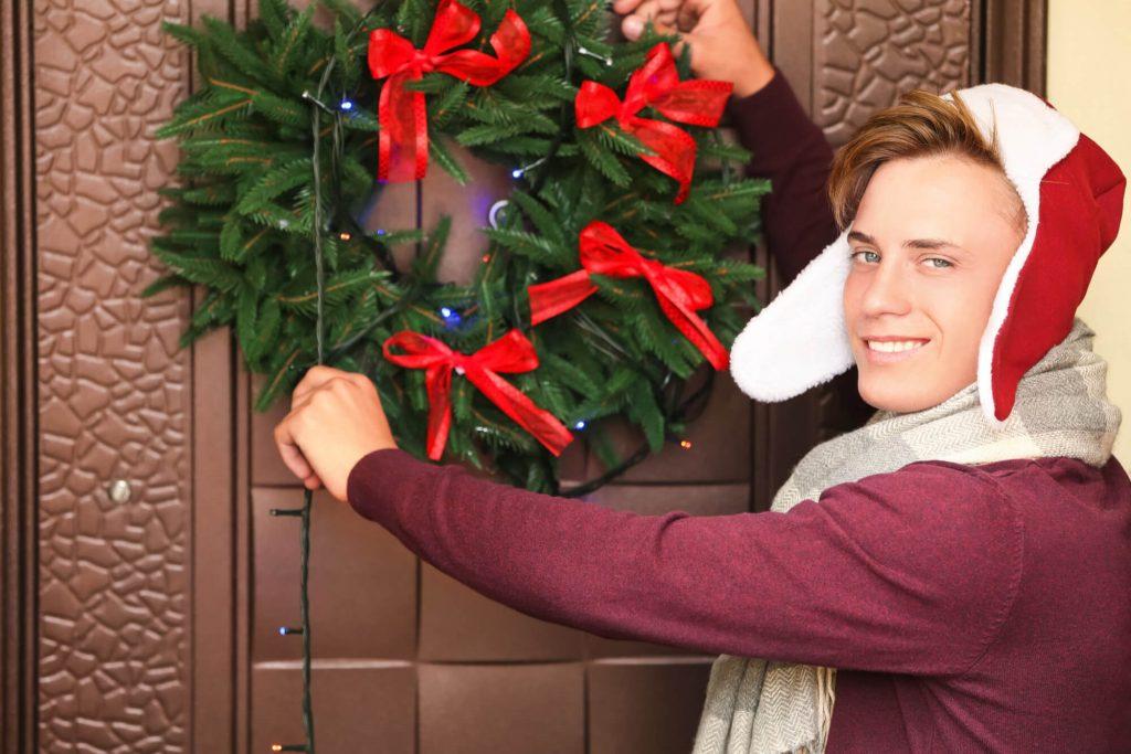 Add a seasonal garland to your door