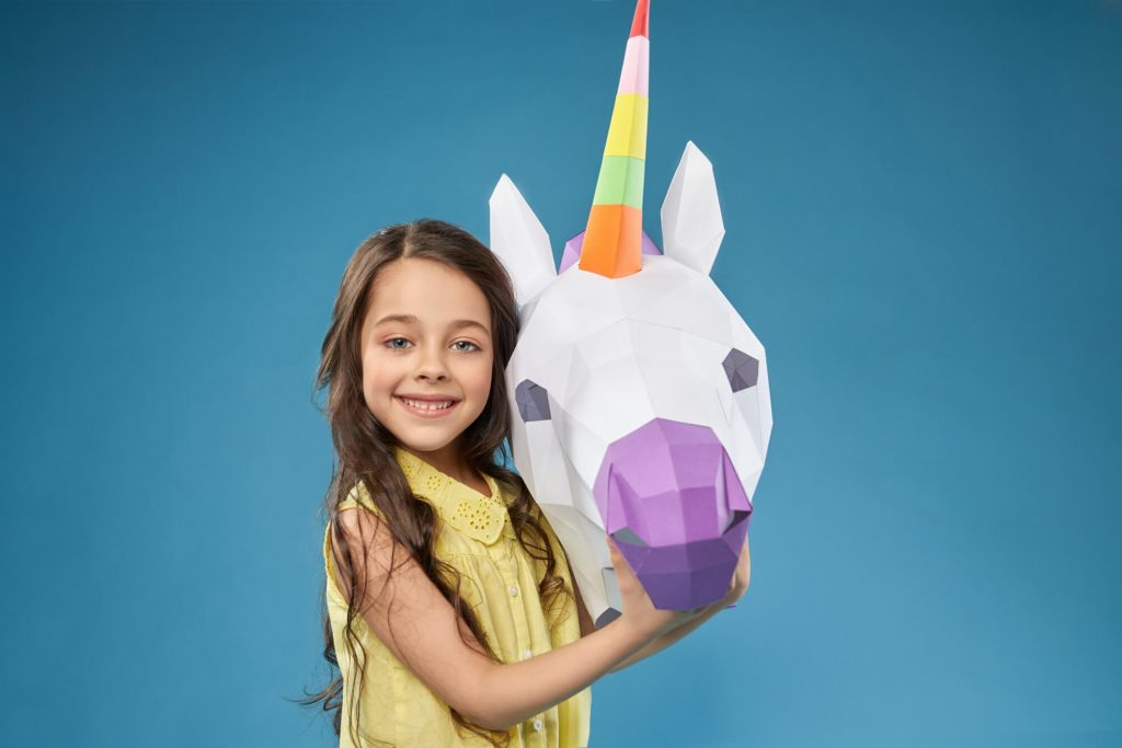 Paper Unicorns for birthday party at home